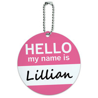 Lillian Hello My Name Is Round ID Card Luggage Tag