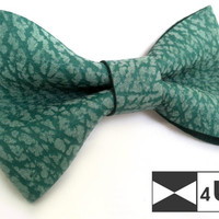 Green Real Leather Bow Tie Bowtie Necktie Fancy Special Unique Wedding Bow Tie Groomsmen Bow Tie Man Men Lady Dickie Bow Gift for man Party