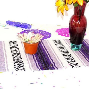 Mexican dinner party decorations, Cinco de Mayo Party decor, Mexico Table Runner made from Mexican blanket material