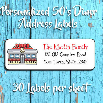 Personalized 50's DINER Design Return ADDRESS Labels