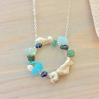 Ocean Treasures Necklace - Wire Wrapped Sea Glass Necklace - Beach Glass Necklace - Beach Necklace - Mermaid Jewelry - Seashell Necklace