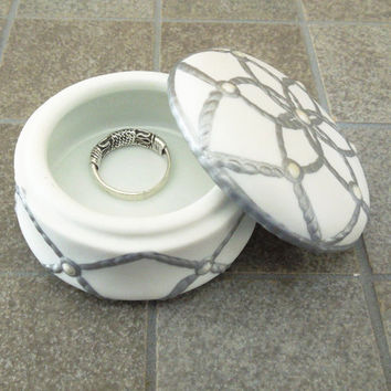Trinket box cream jar ring box with mirrored lid -  White gray rope design mirror on lid - Wedding favor bridal shower favors TB25