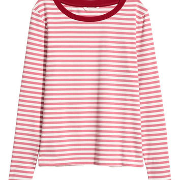 Striped jersey top - White/Green striped - Ladies | H&M GB