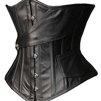 Leather Steel Boned Underbust Pirate Corset