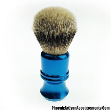 Envy Shave badger brush with 25mm Luxury Silvertip - Alluminati Classic by Nathan Clark - Blue
