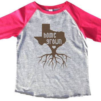 Texas Home Grown BOYS OR GIRLS BASEBALL 3/4 SLEEVE RAGLAN - VERY SOFT TRENDY SHIRT B815