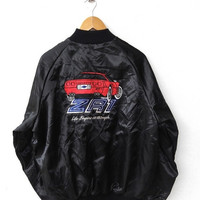 CRAZY SALE 25% Vintage 80's ZR1 Chevrolet Corvette Racing Car Sport Tiger Embroidery Sewn Stingray New York Varsity Satin Black Jacket Xl