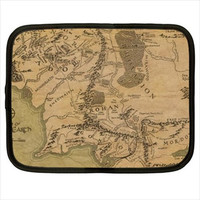 Map Of Middle Earth Realm Lord Of The Rings LOTR Computer iPad Kindle Tablet Sleeve Case Size S M L XL XXL Custom Design Made to Order