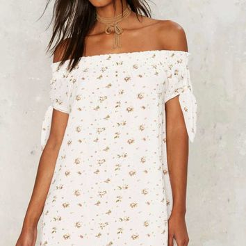 Tie Felicia Off-Shoulder Dress - White