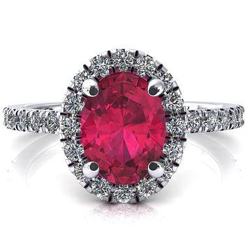 Talia Oval Ruby 4 Prong Halo 3/4 Micropave Engagement Ring
