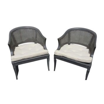Pre-owned Vintage Cane Back Club Chairs - A Pair