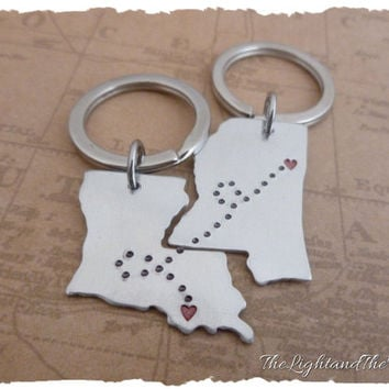 Map Key Chain long distance relationship  - Ships FAST - State Key Chains - USA - State - Long Distance Love - LDR