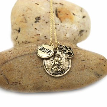Breathe Om Metal Disc & Buddha Pendant Necklace