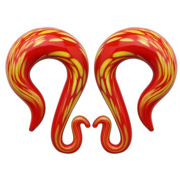 BodyJ4You Glass Spiral Taper Hanger Curved Ear Gauge Red Lava 2G-14mm Piercing Jewelry