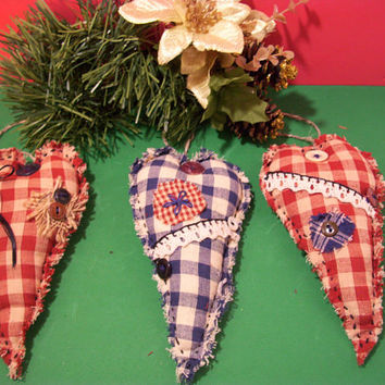 Christmas Heart Ornaments, Primitive, Cabin Decor, Handmade, Rustic, Country Decor, Cottage Decor,  Home Decor,  Home and Living,