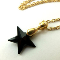Black Star Necklace Crystal Jewelry Gold Necklace Black Crystal Celestial Star Necklace
