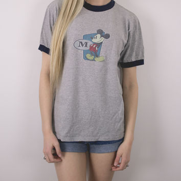 Vintage Mickey Mouse Ringer T Shirt