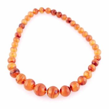Vintage  Genuine Amber Bead Necklace 1930S Sun Spangles 18""