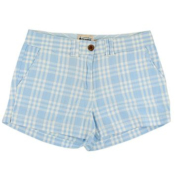 Women's Shorts in White and Carolina Blue Madras by Olde School Brand - FINAL SALE