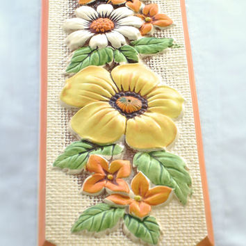 Citrus Flowers Ceramic Plaque, Orange Yellow Green White, for the Wall, 70s Mod Art