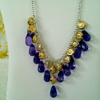 gold sunflower purple amethyst  drop bead necklace & earrings set statement fashion jewelry 19 inches chunky bib trendy gift idea for her