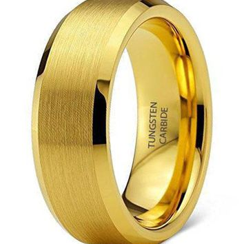 8mm Platinum Yellow Gold, Black, or Silver Tungsten Carbide Wedding Band Ring