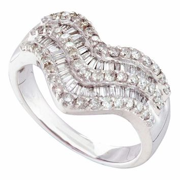 14kt White Gold Women's Round Baguette Diamond Chevron Band Ring 7-8 Cttw - FREE Shipping (US/CAN)