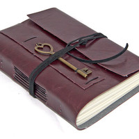 Burgundy Vegan Faux Leather Journal with Heart Key Charm Bookmark