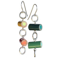 Colored pencil circle earrings