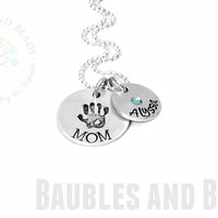 Personalized Mom Necklace ~ Birthstone Pendant