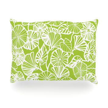 "Jacqueline Milton ""Vine Shadow - Lime"" Green Floral Oblong Pillow"