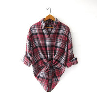 Vintage Plaid Flannel Shirt. Boyfriend Shirt. Button Up Shirt. Preppy Grunge Shirt.