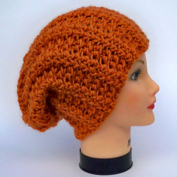 Crochet Slouchy Hat - Unisex Baggy Beanie In Pumpkin - Chunky Wool Headwear - Winter Fashion - Warm Head Covering - Accessories