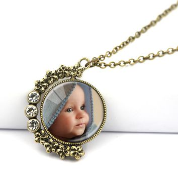 New Design Personalized Photo Custom Necklace Vintage Rotatable Glass Pendants With Your Love Photos Chain Length 80 CM