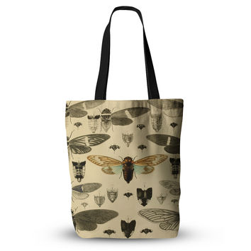 "Suzanne Carter ""Vintage Cicada"" Bugs Pattern Everything Tote Bag"