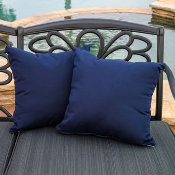 "Samara Navy Blue 17"" Outdoor Sunbrella Accent Pillows (Set of 2)"