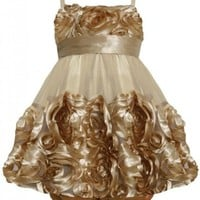 Gold Metallic Bonaz Rosette Mesh Bubble Dress GD1HB Bonnie Jean Baby-Infant Special Occasion Flower Girl Holiday BNJ Social Dress, Gold