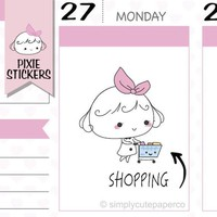 PIXIE - shopping day stickers,shopping stickers,planner stickers,chores stickers,cute stickers,kawaii stickers,erin condren  | A016