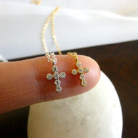 tiny gold cross necklace-small silver cross necklace-diamond cz cross necklace-tiny cross necklace-cross necklace for girls