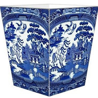 Blue Willow Wastepaper Basket