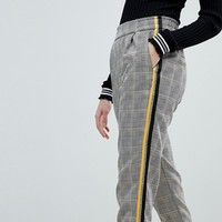 Bershka Check Side Stripe PANTS at asos.com