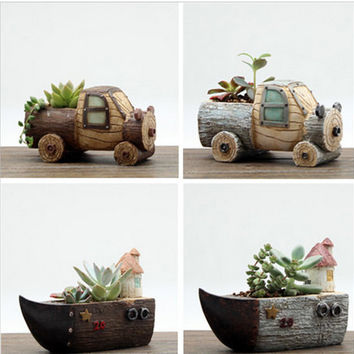 Creative Wood Flower Pots Micro Landscape Ornaments Planter Pot for Home Indoor Succulents Bonsai Flowerpot Boat Car Birthday Gift DIY Decor