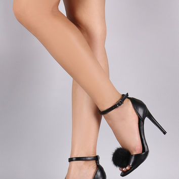 Black Faux Fur Pom Pom Ankle Strap Stiletto Heel
