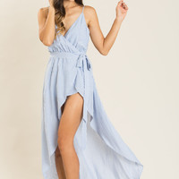 Josie Blue Striped Maxi Jumpsuit