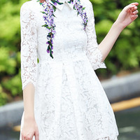 White Floral Embroidered Panel Long Sleeve Lace Dress