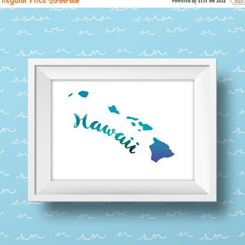 Hawaii State Print, Hawaii Art, Nautical Blue Watercolor, Instant Download, Hawaii Decor, Printable Art