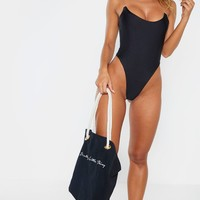 Black Clear Strap Scoop Swimsuit