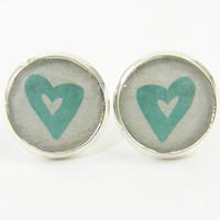 Heart Stud Earrings - Aqua Cream Silver Small Post Jewelry