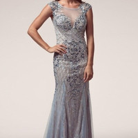 Kari Chang KC9 Beaded Cap Sleeve Ice Blue 2015 Prom Dress