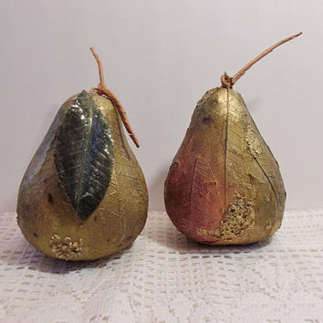Gold Leaf Pears Artificial Fruit Holiday Home Decor Thanksgiving Harvest Crafts Country Kitchen Crafting